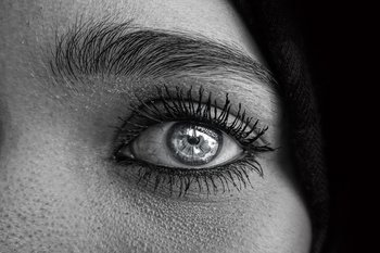 A close up of a woman's eye for women's eye health month