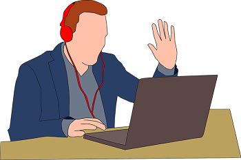 A cartoon of a man in front of a laptop wearing headphones