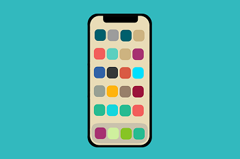 A smartphone with app buttons of all different colors on a turquoise background